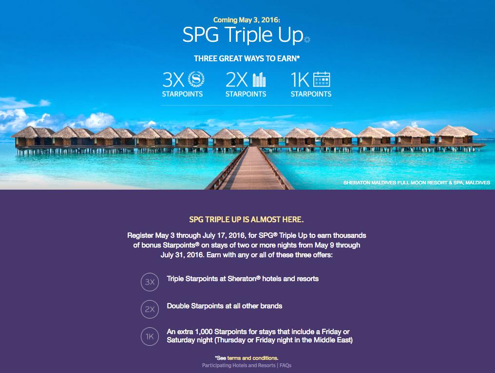 """SPG """"Triple Up"""" プロモーション 5/3よりキャンペーン登録開始!"""