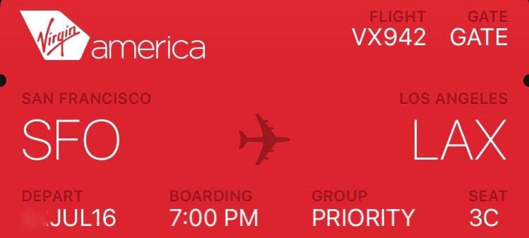 ヴァージンアメリカ Virgin America VX942便 サンフランシスコ→ロサンゼルス 搭乗記